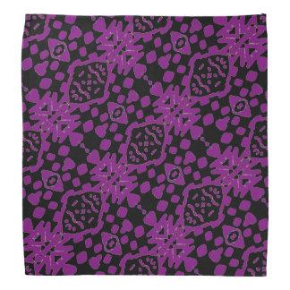 黒いおよび紫色パターン バンダナ
