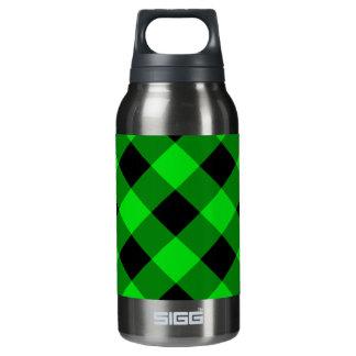 黒いおよび緑のギンガムパターン 断熱ウォーターボトル