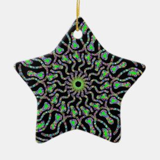 黒いおよび緑の円のデザイン セラミックオーナメント