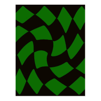 黒いおよび緑の歪められたチェッカーボード ポストカード