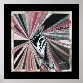 黒いおよび赤の4ポイント抽象芸術 ポスター