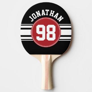 黒いおよび赤ジャージーの名前をカスタムする数を遊ばします 卓球ラケット