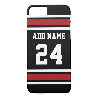 黒いおよび赤ジャージーの名前をカスタムする数を遊ばします iPhone 8/7ケース