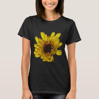 黒いおよび金黄色い花柄パターン花 Tシャツ