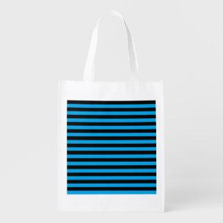 黒いおよび青い縞の再使用可能な買い物袋 エコバッグ