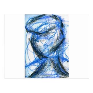 黒いおよび青の姿 ポストカード