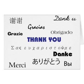 黒いおよび青003のmultilanguagesカードありがとう カード