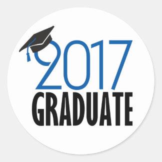 黒いおよび青2017の大学院のステッカー ラウンドシール