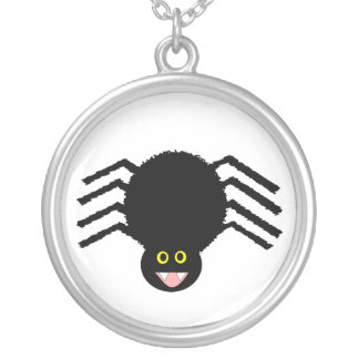 黒いくもは漫画のネックレスをからかいます シルバープレートネックレス