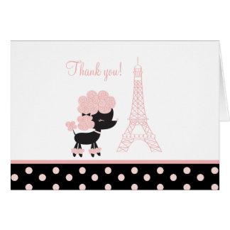 黒いですかピンクのフランスのなプードルのメッセージカードは感謝していしています カード