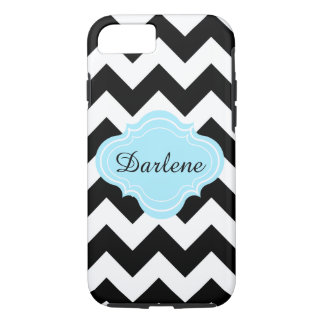 、黒いの水、シェブロンのジグザグパターンの名前白い iPhone 8/7ケース
