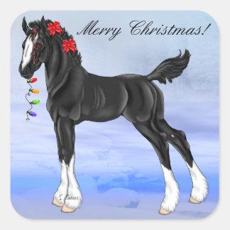 黒いばん馬の子馬のクリスマス スクエアシール