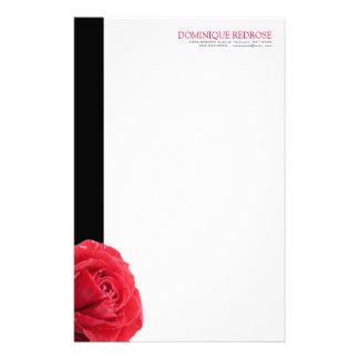 黒いアクセントの赤いバラ 便箋