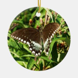 黒いアゲハチョウの蝶自然の写真撮影 セラミックオーナメント