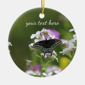 黒いアゲハチョウの蝶 セラミックオーナメント