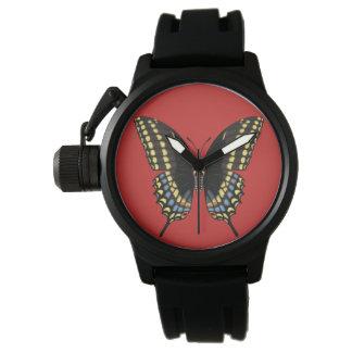 黒いアゲハチョウの蝶 腕時計