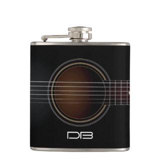 黒いアコースティックギターのモノグラム音楽フラスコ フラスク