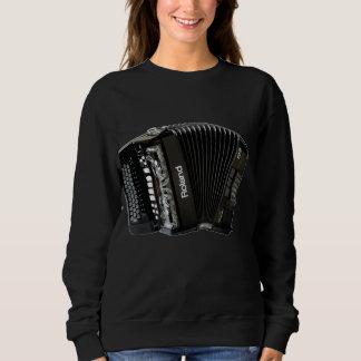 黒いアコーディオンが付いている女性の黒いスエットシャツ スウェットシャツ