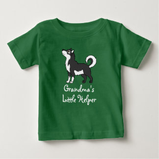 黒いアラスカンマラミュート ベビーTシャツ