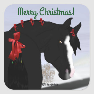 黒いアラビアの馬のクリスマス スクエアシール