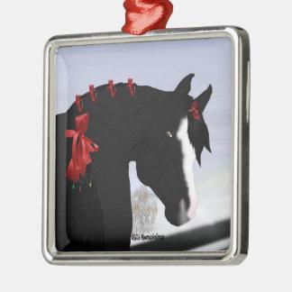 黒いアラビアの馬のクリスマス メタルオーナメント