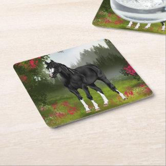 黒いアラビアの馬のプリント スクエアペーパーコースター