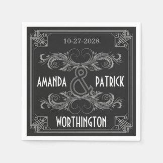 黒いアールデコのヴィンテージおよび銀製結婚式のナプキン スタンダードカクテルナプキン