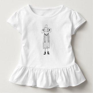 黒いイラストレーションを含む女の子のひだの服 トドラーTシャツ