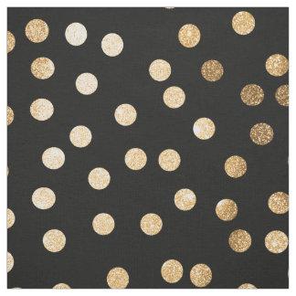 黒いインクおよび金ゴールド都市点 ファブリック
