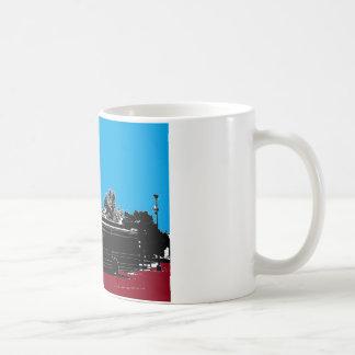 黒いインクとのターコイズそして赤 コーヒーマグカップ