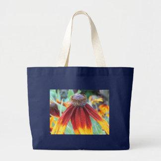 黒いインドの総括的な花Totebag ラージトートバッグ