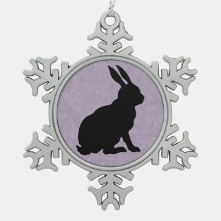 黒いウサギのシルエットのイースターのウサギ スノーフレークピューターオーナメント