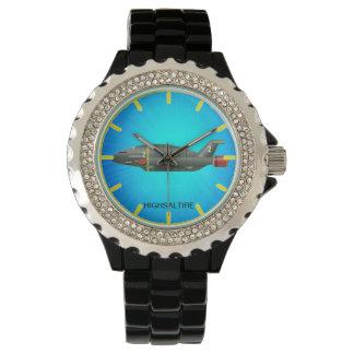 黒いエナメルのロケットの船が付いているラインストーン 腕時計
