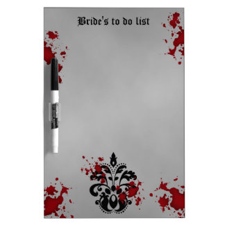 黒いエレガントなダマスク織およびリストをする灰色の結婚式 ホワイトボード