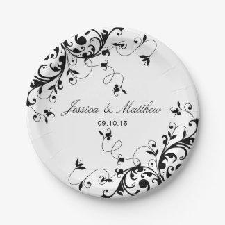 黒いエレガントな渦巻及び白い結婚式 紙皿 小