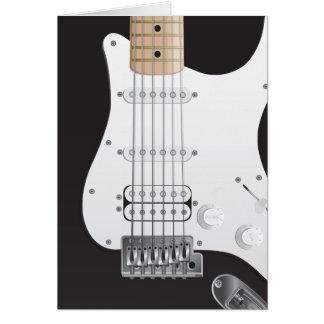 黒いエレキギターのメッセージカードのデザイン カード