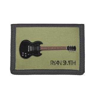 黒いエレキギターの男の子の名前入りな財布 ナイロン三つ折りウォレット
