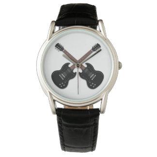 黒いエレキギターの男の子の腕時計 腕時計