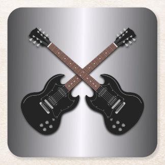 黒いエレキギターの男の子部屋のコースター スクエアペーパーコースター