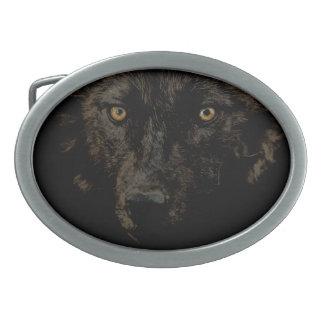 黒いオオカミの顔-オオカミの一族の野性生物の芸術 卵形バックル