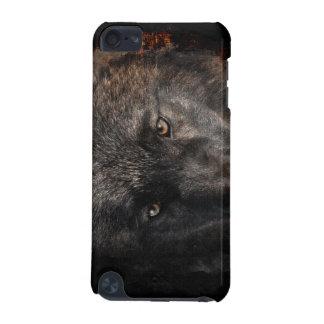 黒いオオカミは野性生物サポータを注目します iPod TOUCH 5G ケース