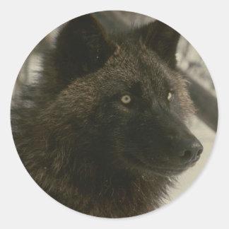 黒いオオカミ ラウンドシール