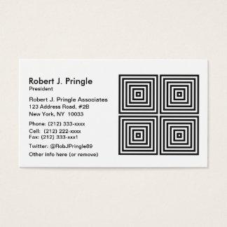 黒いオップアートの同心の正方形 名刺