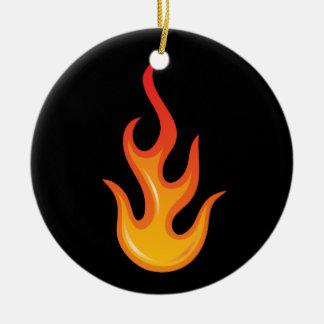 黒いオーナメントの燃えるようで熱い火の炎 セラミックオーナメント