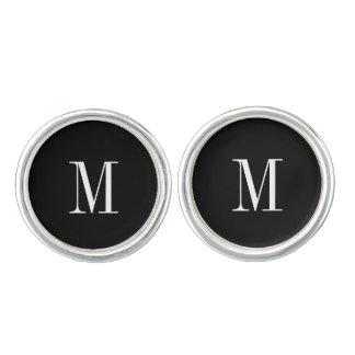黒いカフスボタン-及び白くモダンなイニシャル カフブローチ