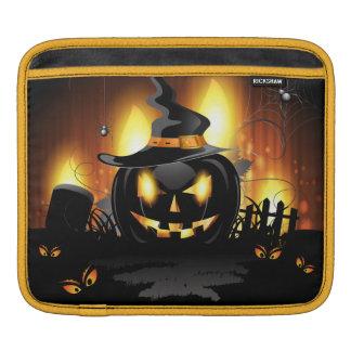 黒いカボチャハロウィンのiPadの袖 iPadスリーブ
