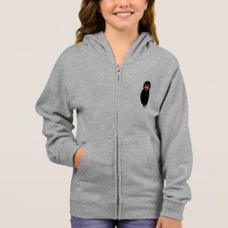 黒いカラスの女の子のフード付きスウェットシャツ スウェットシャツ