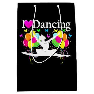 黒いカラフルI愛ダンスパーティーの商品 ミディアムペーパーバッグ