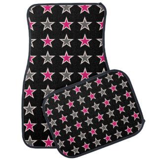 黒いカーマットの灰色およびピンクの星 カーマット