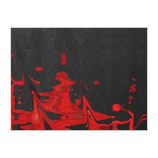 黒いキャンバスのファインアートの抽象的な赤 キャンバスプリント